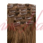 Extensii Par Natural Clip-On Full Head Blond Cenusiu