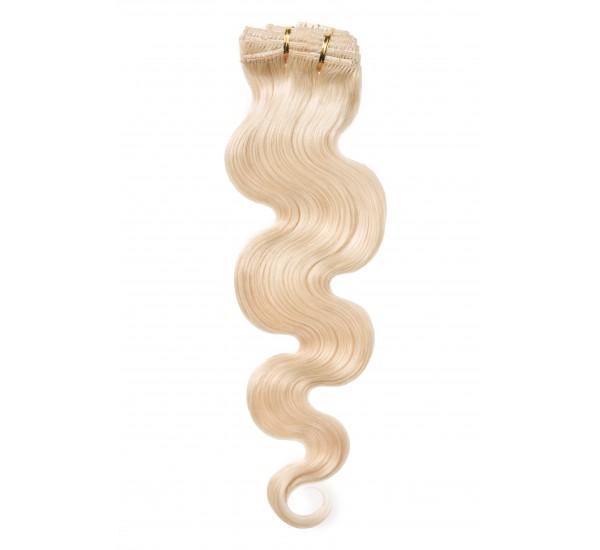 Extensii Par Natural Clip-On Full Head Blond Deschis Ondulat